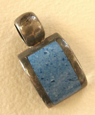 Vintage Sterling Silver 925 Mexico Blue Turquoise Rectangular Pendant 17 grams