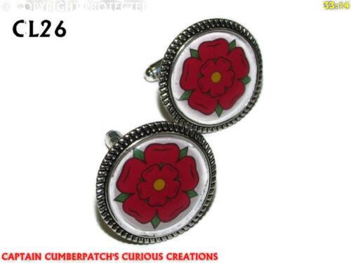 Steampunk Gemelos Plata Lancashire Rojo Rosa Casa de Lancaster #CL26