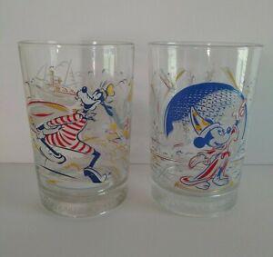 Walt Disney World Set of (2) 25 Years Remember The Magic Glass/Cup  Mickey Goofy