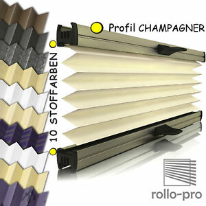 plissee faltrollo ohne bohren nach ma klemmfix designo profil champagner neu ebay. Black Bedroom Furniture Sets. Home Design Ideas