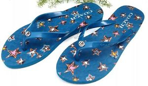 f858ee93909 NEW COACH BLUE ABBIGAIL TURN LOCK STARS FLIP FLOPS THONG SANDALS ...