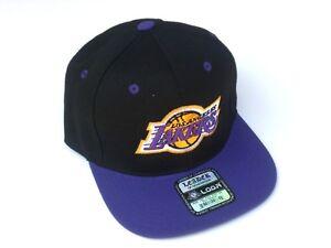 Los-Angeles-Lakers-LA-Snapback-Hat-Cap-One-Size-Adjustable-Black-Purple-New