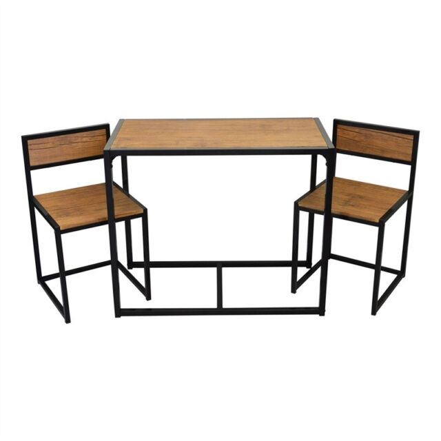 Small Kitchen Dining Table Chairs Set 3pcs Wood Metal Breakfast