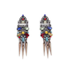 NEW J CREW Grand Heliosa Rainbow Spectrum Gemmed Gold Spike Earrings