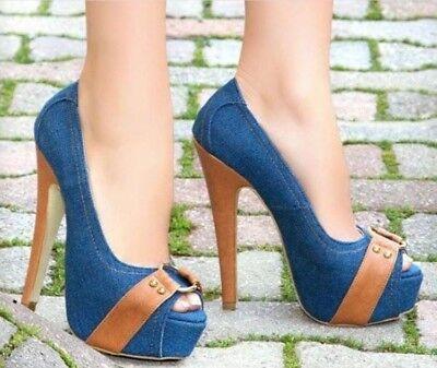 Womens High Heels Peep Toe Shoes Blue