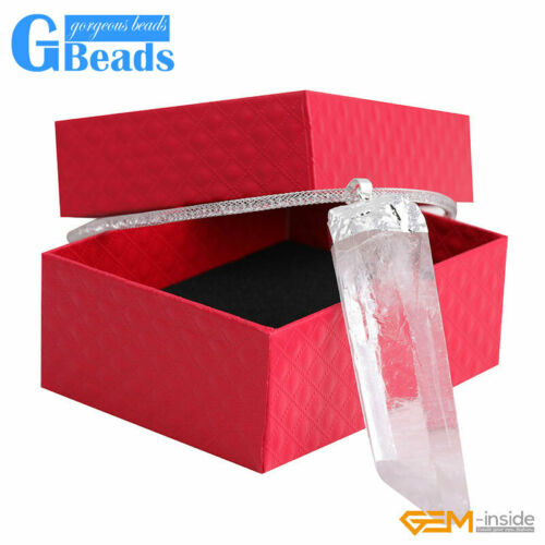 81x23mm Natural Crystal Gemstone Wand Clearance Healing Quartz Pendant Necklace