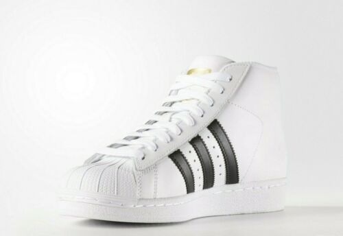NEW AUTHENTIC White//Black//Gold S85962 Adidas Originals Big Kid/'s Pro Model Jr