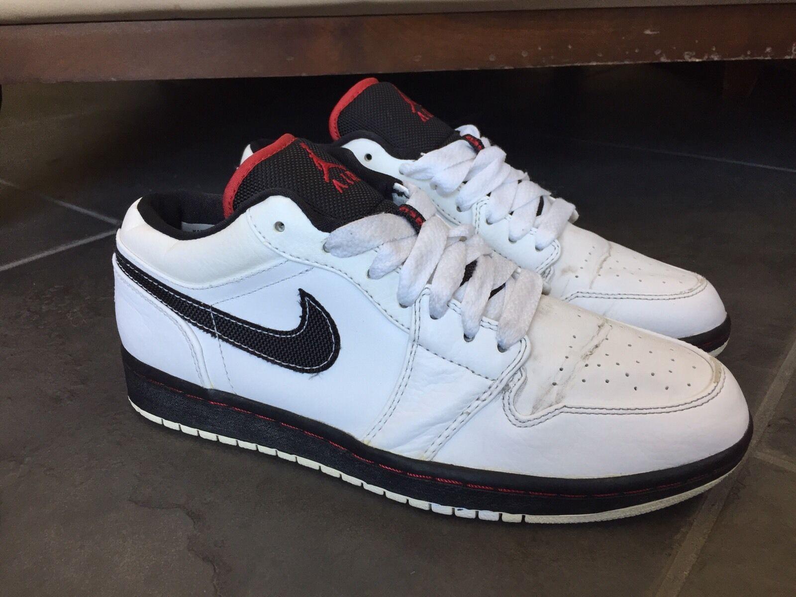 2008 Nike Air Jordan I Retro 1 PHAT LOW White Varsity Red Black 338145-061 Sz 8
