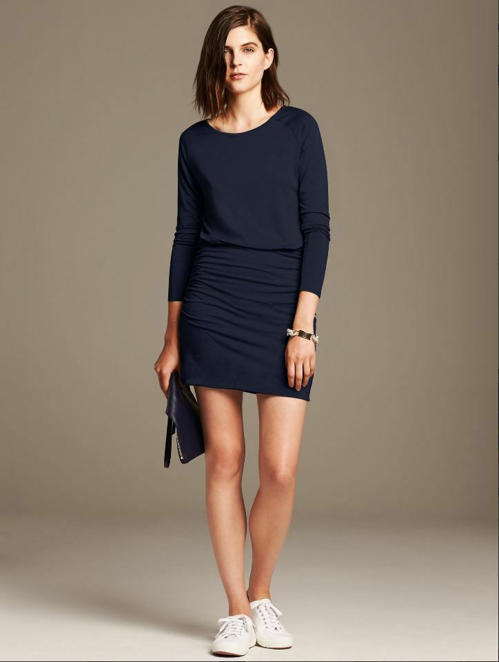 NWT Banana Republic Small 4 6 Preppy Navy Long Sleeve SHIRrot KNIT DRESS S