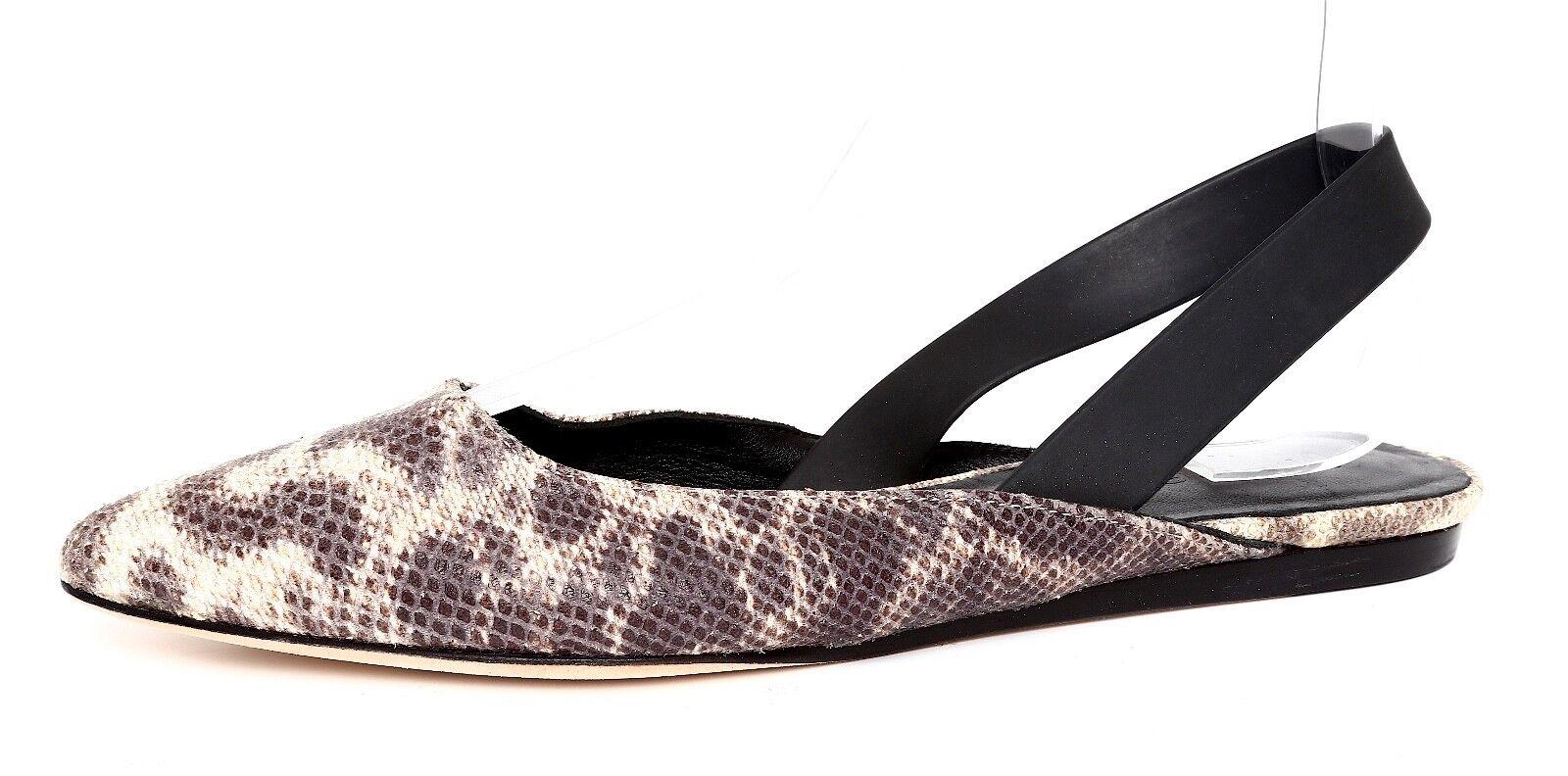 Vince Naomi Snakeprint Leather Women's Natural Flat Sz 7.5M 4345