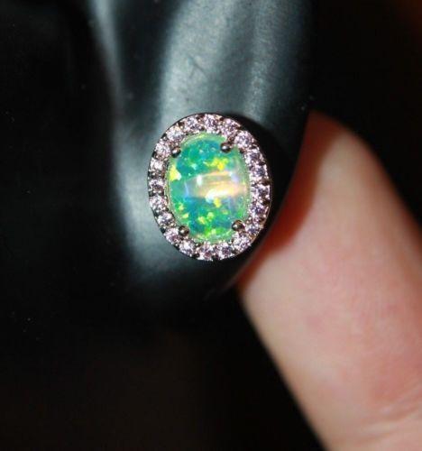 fire opal earrings gemstone silver jewelry petite evening cocktail stud style C