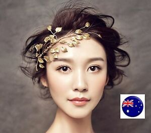 Women-gold-color-leaf-Wedding-Bride-Party-Race-Hair-Pin-Headband-Headpiece-PROP
