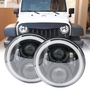 PAIR-Round-LED-Black-Headlights-7-034-H4-For-Land-Rover-Defender-90-110-With-DRL