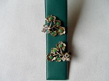 Attraktieve 50er Jahre Blüten Ohrringe-Clips AB Steinen Glas Metall USA