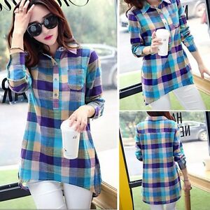 Womens-Loose-Casual-Shirts-Plaids-amp-Check-Long-Sleeve-Tops-Blouse-Ladies-T-Shirt