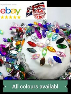 7x15mm-X-50Pcs-Sew-On-Flatback-Rhinestones-Crystals-Stones-Gem-Stones-UK-1