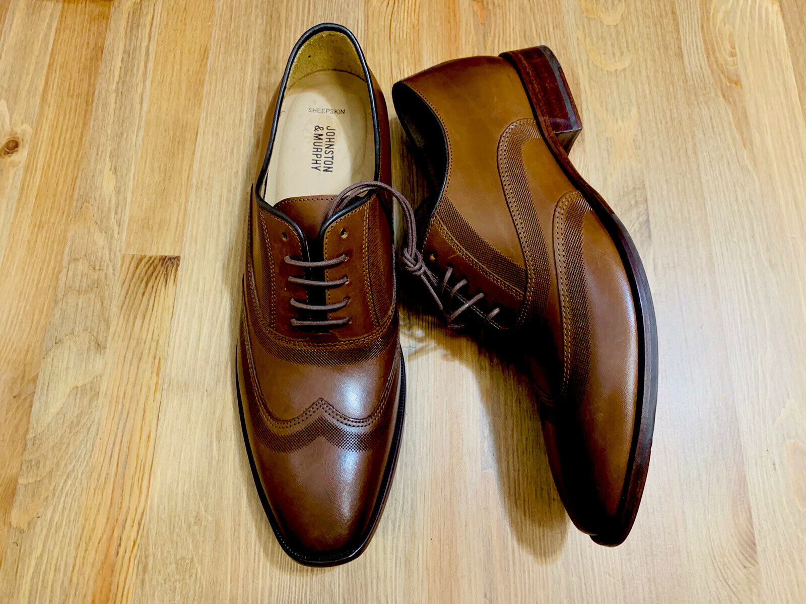 Johnston & Murphy McClain lace up wingtip oxford shoes brown 4752 NWOB sz 11
