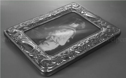 925 STERLING PICTURE PHOTOGRAPH FRAME VICTORIAN EMBOSSED WITH ENGRAVING AREAS