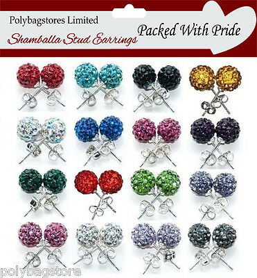TOP QUALITY 10mm SHAMBALLA STUD EARRINGS / CRYSTAL CLAY DISCO BALL FREE UK POST