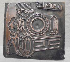 Vintage Letterpress Printing Block Plate Tire Supplies Store Man Rolling Tire
