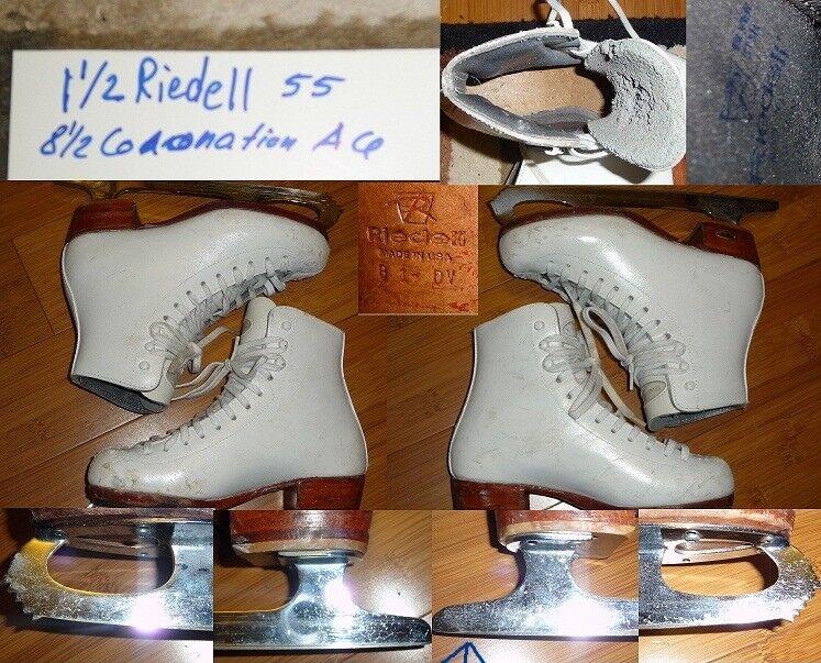 Patines de patinaje artísticos en el hielo Riedl 55, talla 8.5, Coronation ACE girl, talla 1.5.