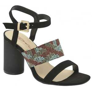 cd5e14e71cfb Image is loading Dolcis-Viola-Black-Round-Heeled-Block-Sandals-New-