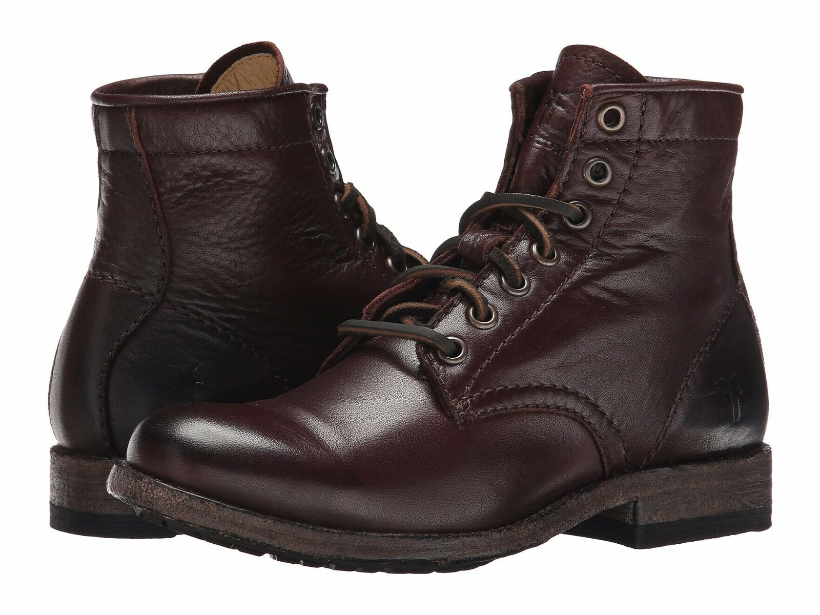 Women's Frye Boots Tyler Lace Up Boot Dark Brown Leather 74873 DBN