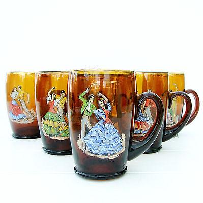 Vintage Retro Set 6 Amber Glasses Tankards Spanish Flamenco Dancers Kitsch