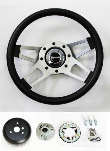 """61-64 Barracuda Cuda Fury Belvedere Grant Black 4 Spoke Steering Wheel 13 1//2/"""""""