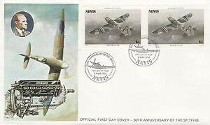 GéNéReuse Nevis 4933 - 1986 Spitfire 4 $ Imperf Paire Sur Fdc-afficher Le Titre D'origine