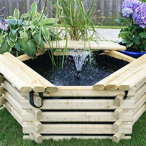 100 Gallon Garden Pond Liner \u0026 Pump Raised Wooden Pool Outdoor Water Feature