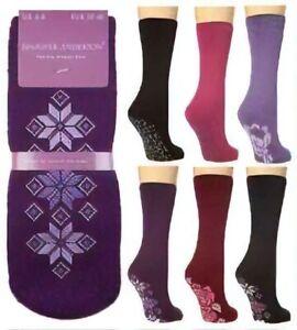 Ladies Jennifer Anderton Slipper Lounge Bed Socks with Non Slip Sole, Size 4-8