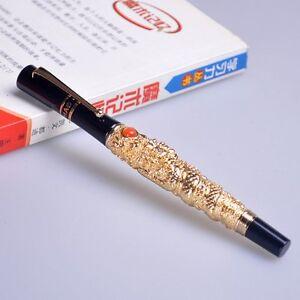 JINHAO-Flying-Dragon-NOBLEST-GOLDEN-Medium-nib-fountain-pen-new-free-shipping