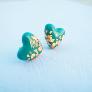 1Pair-Heart-Shape-Natural-Gemstone-Turquoise-Earrings-Gems-Ear-Stud-Jewelry