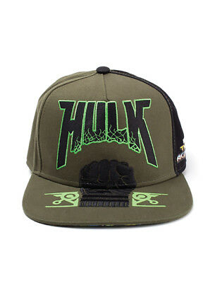 OFFICIAL MARVEL COMICS - THOR: RAGNAROK HULK FIST GREEN SNAPBACK CAP (NEW)