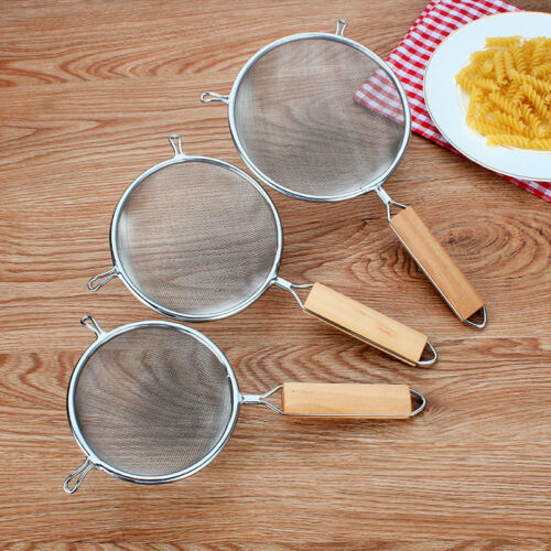 Stainless Steel Wire Mesh Sieve W// Wooden Handle Kitchen Strainer Food Oil Fill