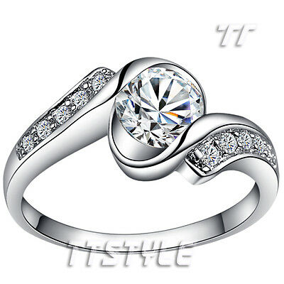 TTstyle 18K White Gold Plated Wedding Twist Band Ring