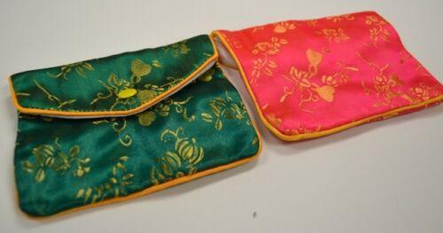 Silk Jewelry Chinese Pouch Bag Roll Assorted TEN DOZEN Zipper - 4 1/2 x 3 1/2