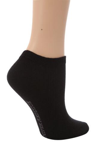 37-42 6 Pairs Ladies Plain Black Cotton Trainer Invisible Socks 4-8 uk