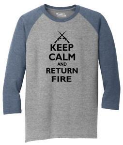 Mens-Keep-Calm-amp-Return-Fire-Funny-Guns-Rights-Shirt-3-4-Triblend-Gun-Rights