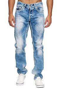 MEGASTYL-Herren-Maenner-Jeans-Basic-Streetwear-Dicke-Naehte-Regular-Fit