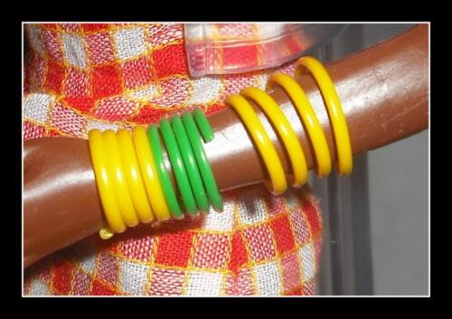 JEWELRY LOT BARBIE DOTW KENYAN  YELLOW /& GREEN ANKLE /& ARM BRACELETS ACCESSORY