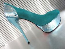 MORI ITALY PLATFORM HIGH HEELS PUMPS SCHUHE SHOES LEATHER TURQUOISE BLUE BLAU 44