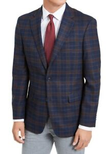 Tommy Hilfiger Mens Sport Coat Blue Size 42 Long Modern-Fit Plaid $295 039