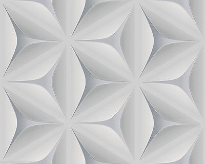 3D Geometric Wallpaper Retro Vintage Abstract Embossed Flower Grey White