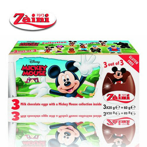 Zaini Disney Mickey Mouse Milk Chocolate Toys Inside 3 Eggs Collectible Fast Shp