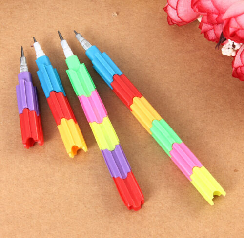 FD3088 Colorful Building Block Stacker Swap Pencils Stationery Pen Toy Gift 2PCs