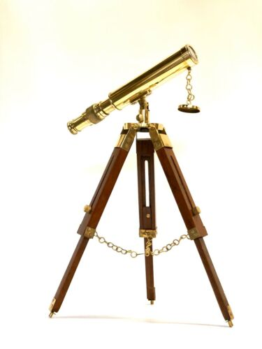 New Marine Navy Nautical Brass Telescope With Wooden Tripod Stand 18/""