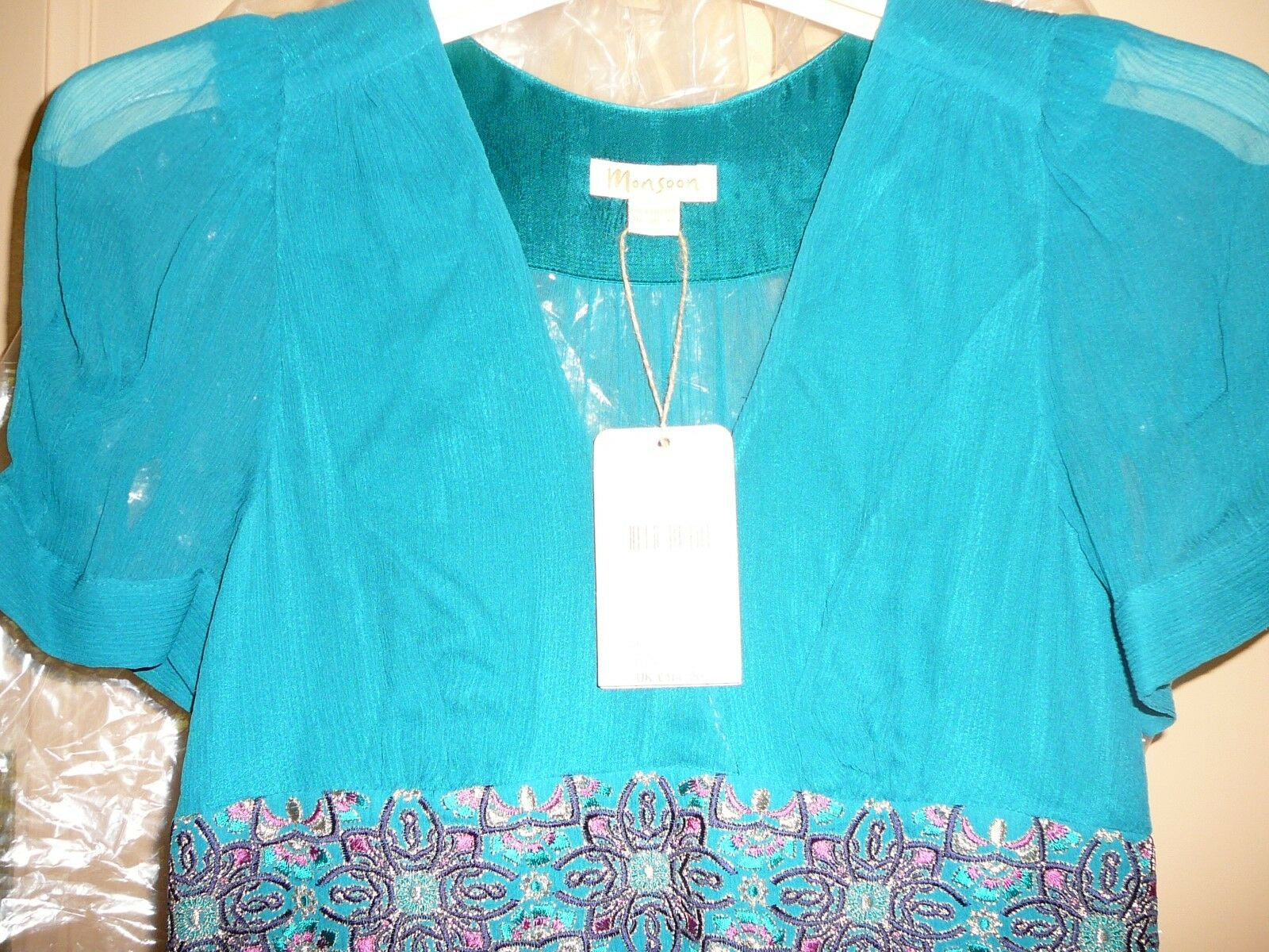 Monsoon Pure Silk Teal Floral Embroided Maxi Robe 10    Now