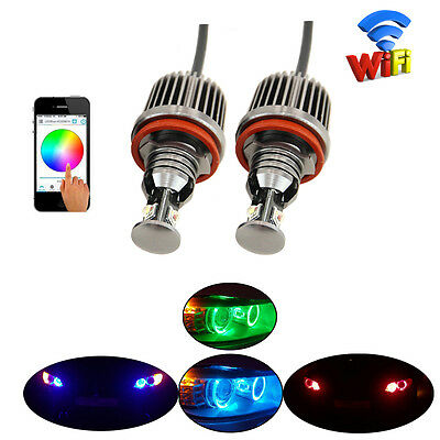 One Set RGB Color Changing Wifi Control H8 Led Marker Angel Eyes For Bmw Canbus